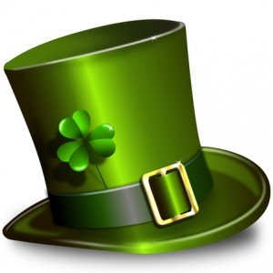 illustration green St. Patrick's Day hat with clover
